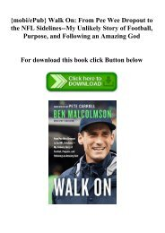 {mobiePub} Walk On From Pee Wee Dropout to the NFL Sidelines--My Unlikely Story of Football  Purpose  and Following an Amazing God (DOWNLOAD E.B.O.O.K.^)