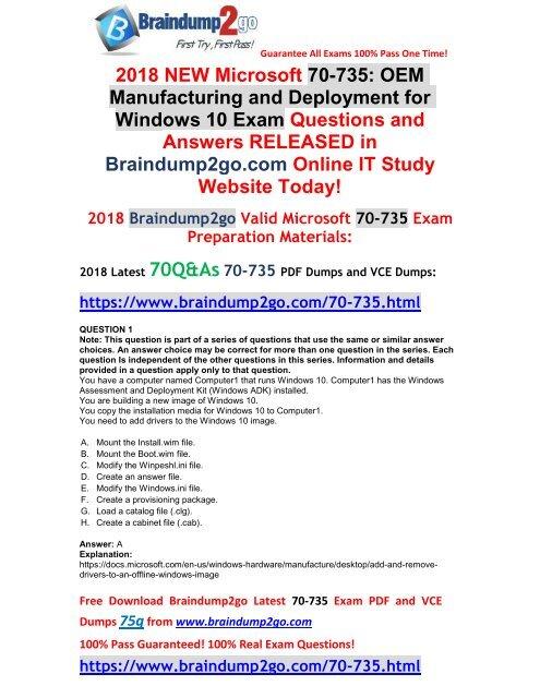 2018-September-Version] New Braindump2go 70-735 Dumps with