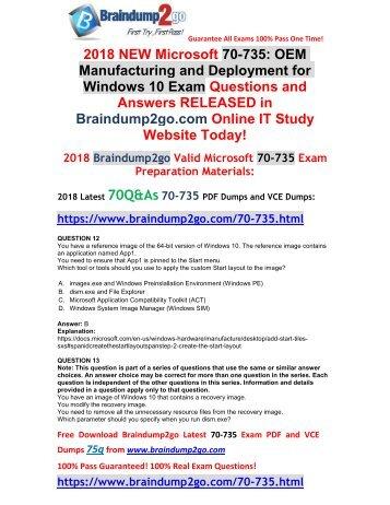 [2018-September-Version] New Braindump2go 70-735 Exam Dumps VCE Free Download(12-22)
