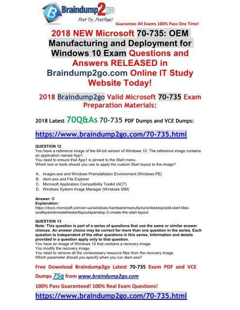 2018-September-Version] New Braindump2go 70-735 Exam Dumps
