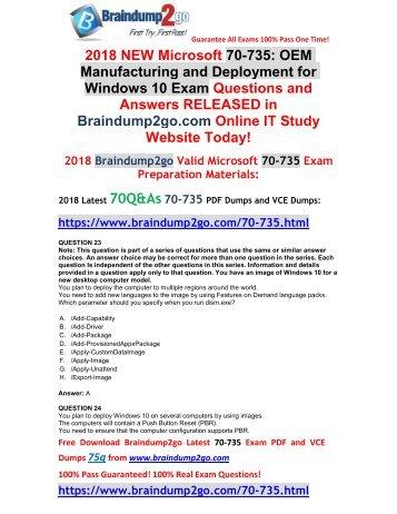 [2018-September-Version] New Braindump2go 70-735 Exam Dumps PDF Free Download(23-33)