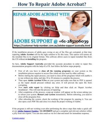 How to repair Adobe Acrobat?