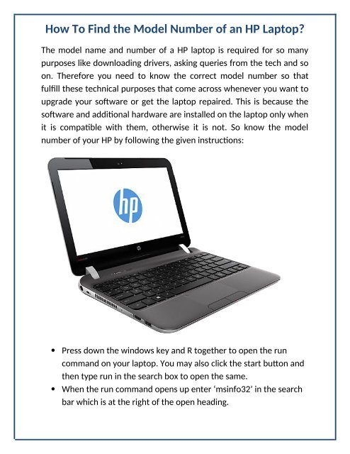 How To Find The Model Number Of An Hp Laptop