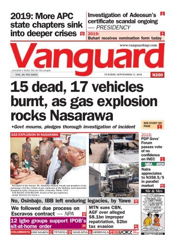 11092018 - 15 dead, 17 vehicles burnt, as gas explosion rocks Nasarawa