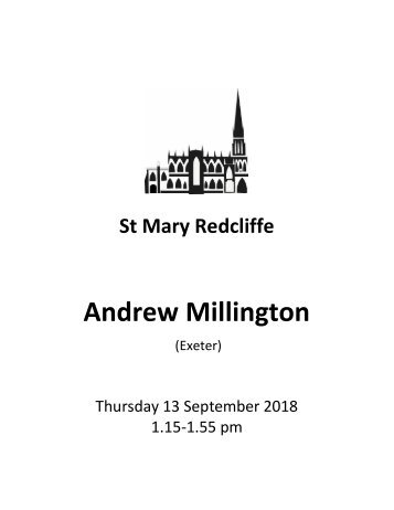 St Mary Redcliffe Free Organ Concert - September 13 2018 (Andrew Millington)