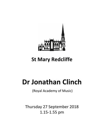 St Mary Redcliffe Free Organ Recital - Septemer 27 2018 (Jonathan Clinch)