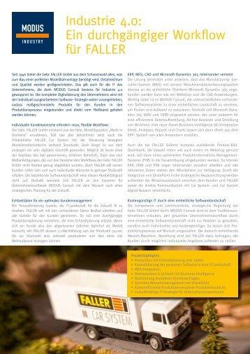 Anwenderbericht Gebr. Faller GmbH - MODUS INDUSTRY