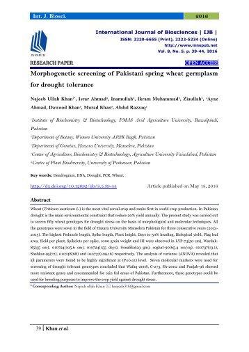 Morphogenetic screening of Pakistani spring wheat germplasm for drought tolerance