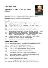 Curriculum vitae Univ. - Prof. Dr. med. Dr. rer. nat. Otmar Schober