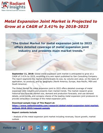 Metal Expansion Joint Market is Projected to Grow at a CAGR of 3.41% by 2018-2023