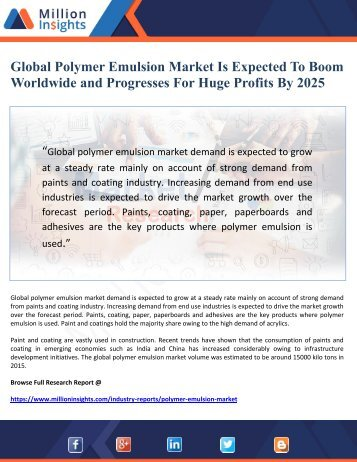 Global Polymer Emulsion Market Is Expected To Boom Worldwide and Progresses For Huge Profits By 2025