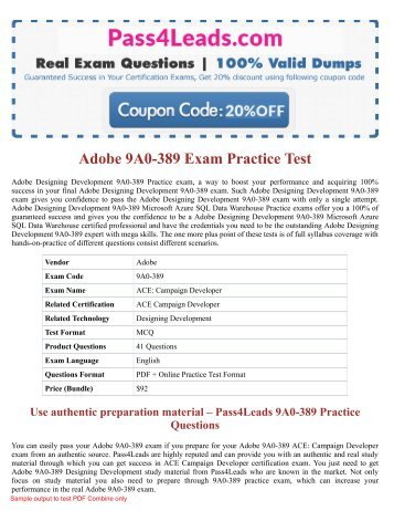 2018 Updated 9A0-389  Exam Practice Questions