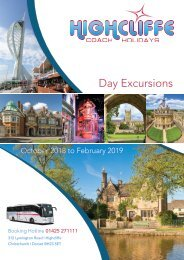 Highcliffe Coach Holidays - Day Excursions - Oct 2018-Feb 2019