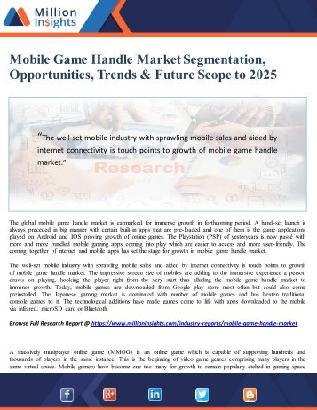 Mobile Game Handle Market Segmentation, Opportunities, Trends & Future Scope to 2025