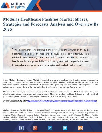 Modular Healthcare Facilities Market Shares, Strategies and Forecasts, Analysis and Overview By 2025