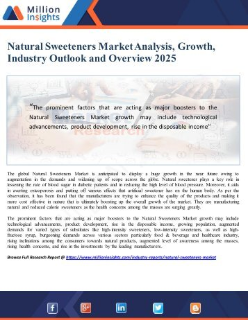 Natural Sweeteners Market Analysis, Growth, Industry Outlook and Overview 2025