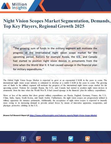 Night Vision Scopes Market Segmentation, Demands, Top Key Players, Regional Growth 2025