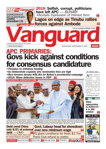 12092018 - APC PRIMARIES: Gov kick against conditions for consensus candidate