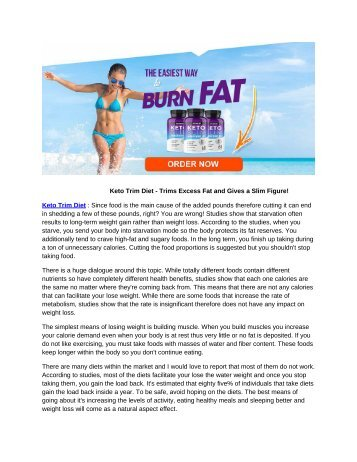 Keto Trim Diet - Trims Excess Fat and Gives a Slim Figure!