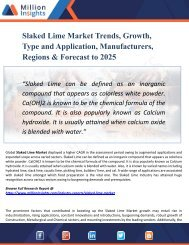 Slaked Lime Market Perspective, Comprehensive Analysis, Size, Share, Growth, Segment, Trends and Forecast 2025