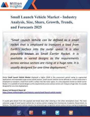Small Launch Vehicle Market Segmented by Material, Type, End-User Industry and Geography – Trends and Forecasts 2025