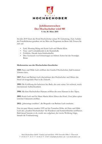 HS Programm Jubiläumswochen 2019
