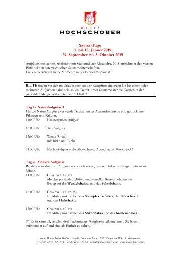 HS Programm Saunatage Jänner und April 2019