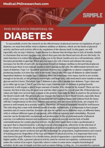 Diabetes PhD Research Proposal Sample
