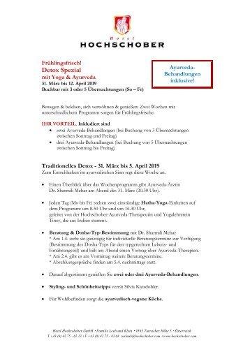 Hochschober Programm Yoga und Detox 2019