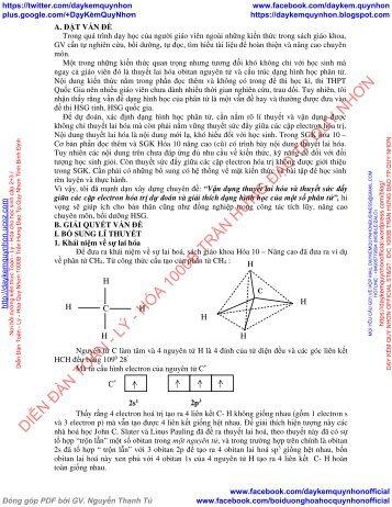 Vận dụng thuyết lai hóa và thuyết sức đẩy giữa các cặp electron hóa trị dự đoán và giải thích dạng hình học của một số phân tử