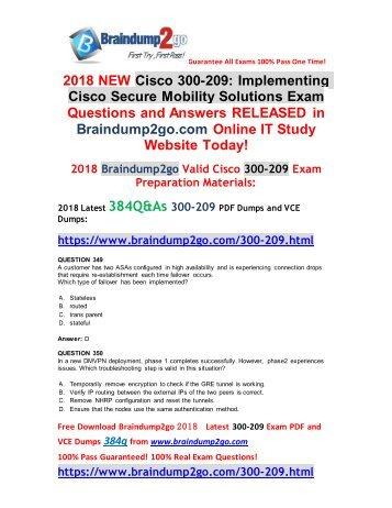 [2018-9-Version]Braindump2go New 300-209 VCE and 300-209 PDF Dumps 384Q Free Download(349-359)
