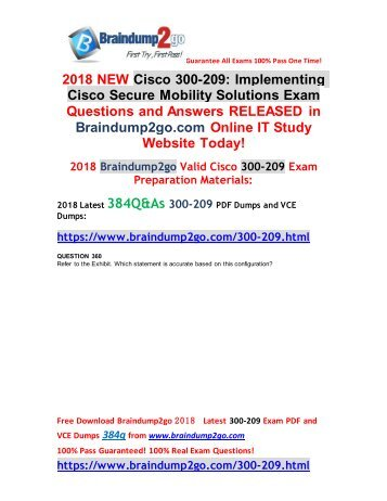 [2018-9-Version]Braindump2go New 300-209 PDF and VCE Dumps 384Q Free Download(360-370)