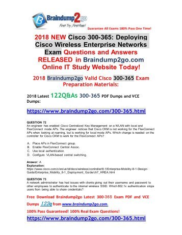 [2018-9-Version]Braindump2go New 300-365 VCE and 300-365 PDF Dumps 122Q Free Download(72-82)