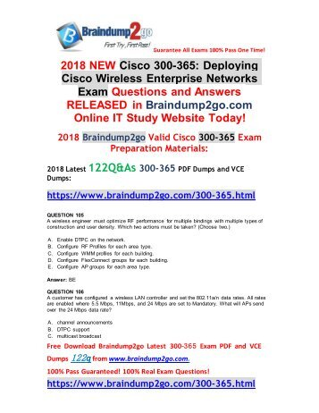 [2018-9-Version]Braindump2go New 300-365 VCE and PDF Dumps 122Q Free Download(105-115)
