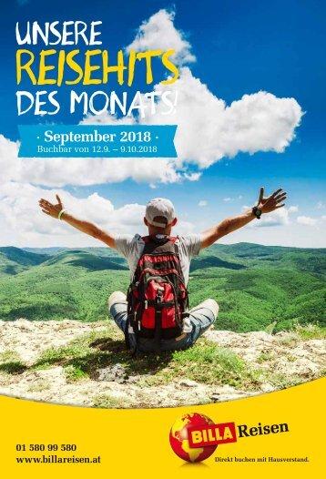 BILLA Reisen Reisehits September 2018