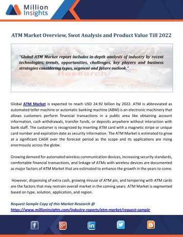 ATM Market Overview, Swot Analysis and Product Value Till 2022