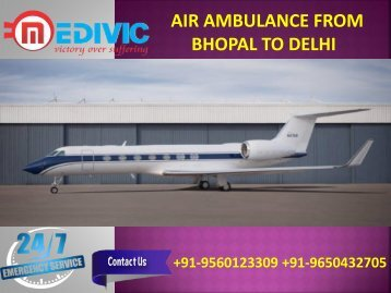 Air Ambulance from Bhopal to Delhi-converted
