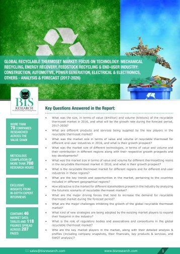 Recyclable Thermoset Market Forecast (2017-2026)