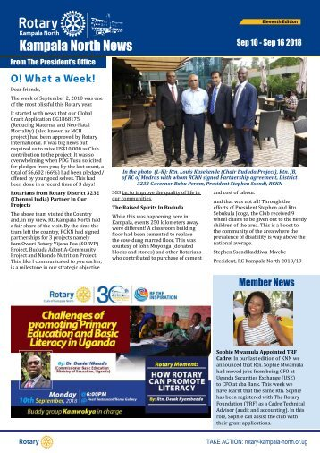 Rotary Club Ok Kampala North Bulletin - September 10, 2018