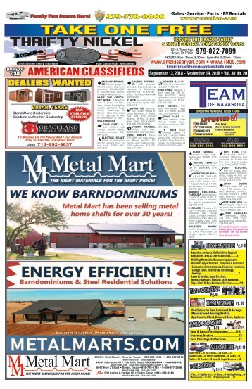 Thrifty Nickel/American Classifieds Sept. 13th Edition Bryan/College Station