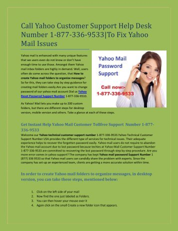 Call  1-877-336-9533 Yahoo Customer Support Help Desk Number  for Yahoo Mail Issues