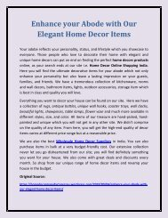 Enhance your Abode with Our Elegant Home Decor Items