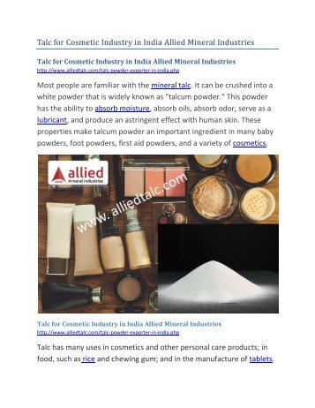 Talc for Cosmetic Industry in India Allied Mineral Industries-converted