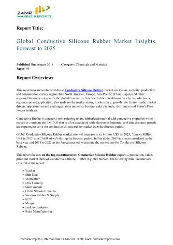 Global Conductive Silicone Rubber Market Insights, Forecast to 2025