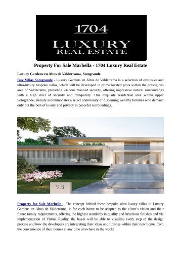 Property For Sale Marbella - 1704 Luxury Real Estate