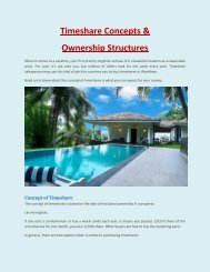 Timeshare Concepts & Ownership Structures