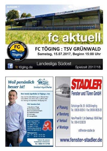 """""""fc aktuell"""" Saison 2017-18 Ausgabe 1"""
