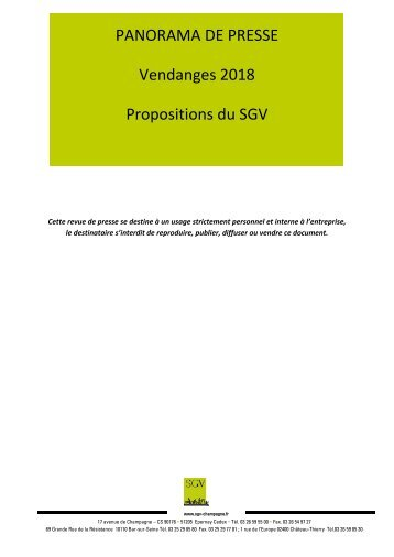 Panorama de presse VENDANGES 2018 Propositions du SGV