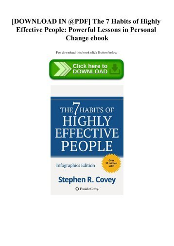 [DOWNLOAD IN @PDF] The 7 Habits of Highly Effective People Powerful Lessons in Personal Change ebook
