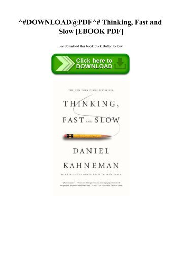 Fast pdf slow thinking and